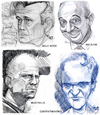 Cartoon: 4 Faces (small) by Cartoons and Illustrations by Jim McDermott tagged brucewillis,wallywood,melblanc,quentintarantino,pulpfiction