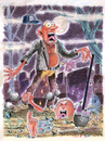 Cartoon: Graveyard Artist (small) by Cartoons and Illustrations by Jim McDermott tagged graveyard scary horror gravedigger artist