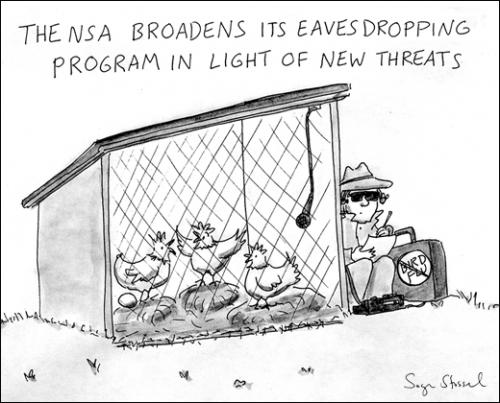 Cartoon: Security Measures (medium) by sstossel tagged security,nsa,eavesdropping,bird,flu,