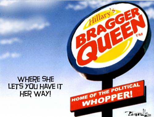 Cartoon: Bragger Queen (medium) by CARTOONISTX tagged hillary,clinton,lies,