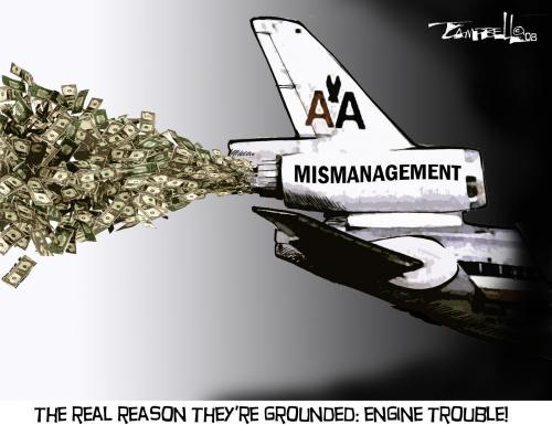 Cartoon: Engine Trouble (medium) by CARTOONISTX tagged american,airlines,