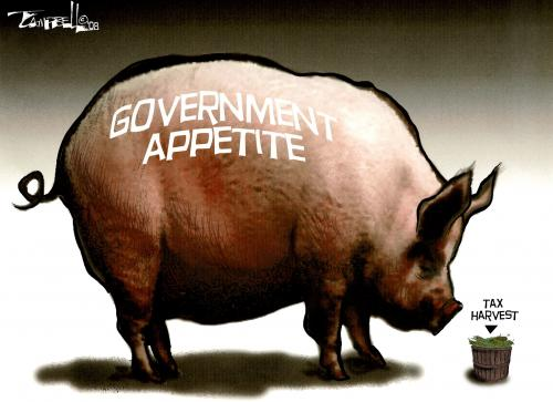 Cartoon: Never Enough for the Hogs (medium) by CARTOONISTX tagged government,appetite,taxes,