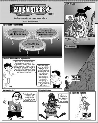 Cartoon: Caricausticas 04 - enero - 2009 (medium) by Empapelador tagged mexico,chiapas