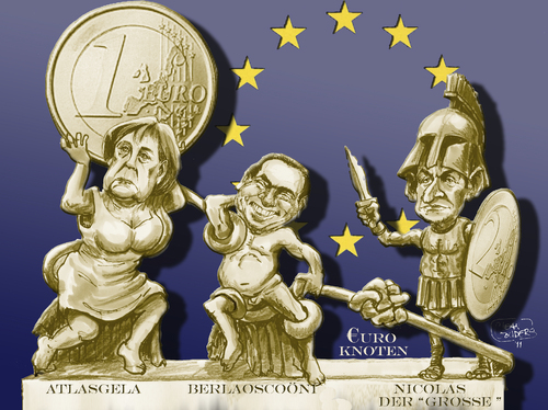 Cartoon: Euromythos (medium) by jean gouders cartoons tagged crisis,euro,role,leading,germany,cartoon,zeit,die,deutschland,eu,europa,euro,schuldenkrise,finanzkrise