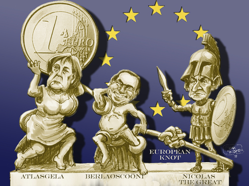 Cartoon: European mythical figures (medium) by jean gouders cartoons tagged euro,crisis,merkel,sarkozy,berlusconi,eu,sarkozy,berlusconi,eu,merkel