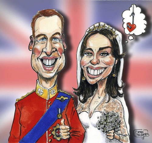 Cartoon: Kate and Wills (medium) by jean gouders cartoons tagged royal,wedding,kate,william,winsor,jean,gouders,kariaktur,karikaturen,royal wedding,william,kate,royal,wedding