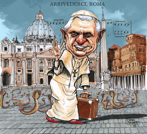 Cartoon: Leaving the snake pit. (medium) by jean gouders cartoons tagged pope,vatican,benedictus,xvi