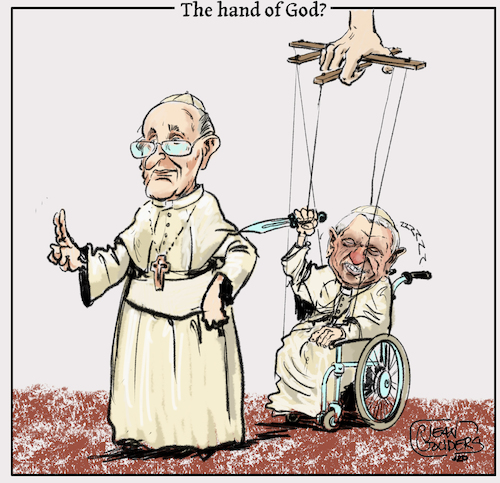 Cartoon: The hand of God? (medium) by jean gouders cartoons tagged pope,francis,benidict,xvi,vatican,celibate,pope,francis,benidict,xvi,vatican,celibate