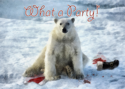 Cartoon: What a Party! (medium) by Alf Miron tagged santa,claus,xmas,christmas,polar,bear,arctic,climate,change,earth,warming,food