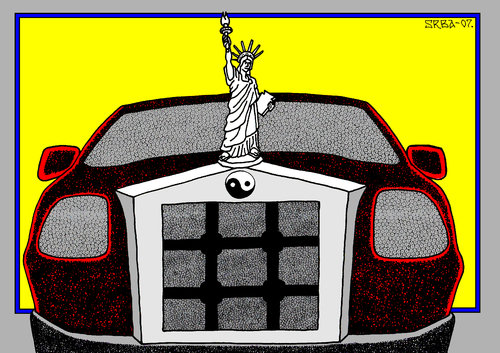 Cartoon: Car (medium) by srba tagged yang,yin,jail,freedom,car
