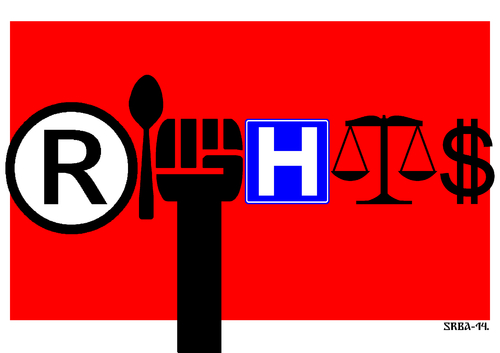 Cartoon: Rights (medium) by srba tagged human,rights,food,rebelion,health,justice,salary