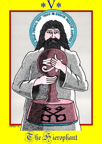 Cartoon: The Hierophant (medium) by srba tagged hierophant,bureaucracy,stamps