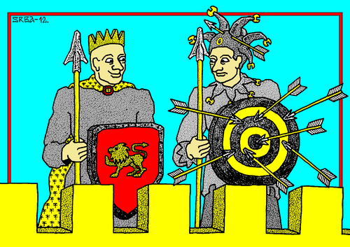 Cartoon: World Fools Day (medium) by srba tagged april,fools,king,target,arrows