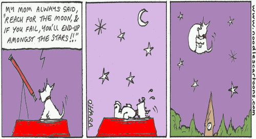 Cartoon: Reach for the moon!.. (medium) by noodles cartoons tagged hamish,telescope,stars,moon