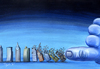 Cartoon: earthquake (small) by trayko tagged earthquake,earth,building,buildings,god,hand,of,destiny