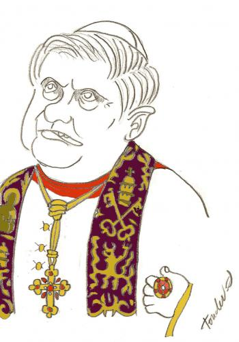 Cartoon: Pope Benedict XVI (medium) by Bravemaina tagged pope,benedict,xvi,church