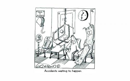 Cartoon: Accidents waiting to happen (medium) by Eoinymac tagged accidents,waiting,room,pen,and,ink,