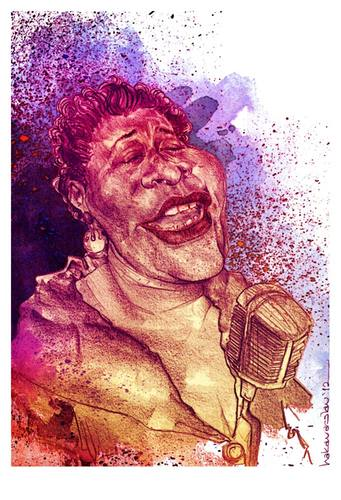 Cartoon: Ella Fitzgerald (medium) by hakanarslan tagged ella,fitzgerald