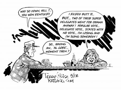 Cartoon: Having an Al Gore moment (medium) by terry tagged gore,hillary,mccain,obama,election