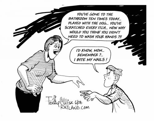 Cartoon: Wash your hands (medium) by terry tagged food,meals,family,sanitary