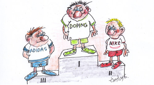 Cartoon: sponsored by (medium) by Erki Evestus tagged toping,sports
