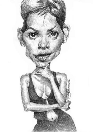 Cartoon: halle berry (medium) by salnavarro tagged caricature,hollywood,icon
