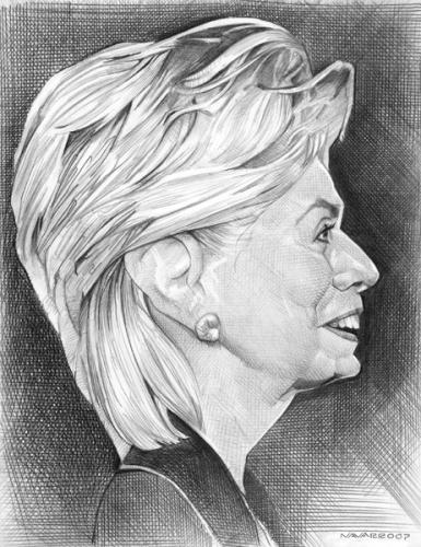 Cartoon: hillary clinton (medium) by salnavarro tagged caricature,pencil,politics,president,race