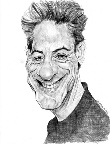 Cartoon: robert downey jr. (medium) by salnavarro tagged caricature,pencil