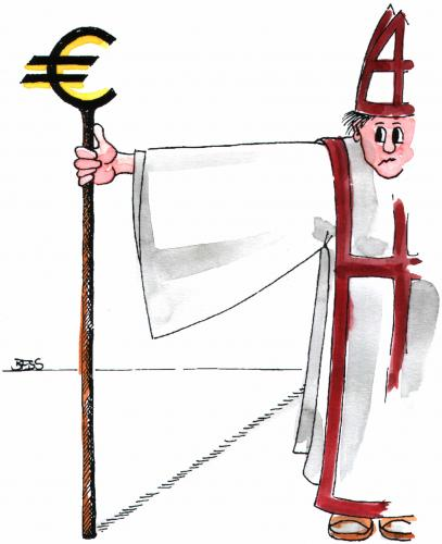 Cartoon: Euromania (medium) by besscartoon tagged christentum,mann,bischof,geld,religion,kirche,katholisch,euro,bess,besscartoon