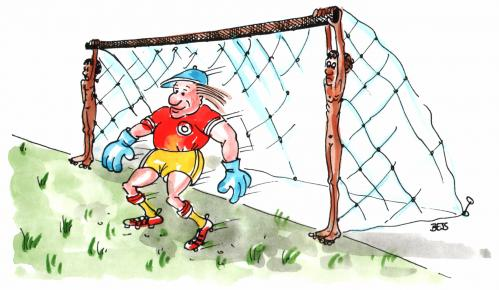 Cartoon: Notlösung (medium) by besscartoon tagged mann,reich,arm,tor,rassismus,fussball,bess,besscartoon