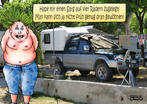 Cartoon: Campingsarg (medium) by besscartoon tagged camping,sarg,tod,sterben,wohnmobil,urlaub,sommer,ferien,bess,besscartoon