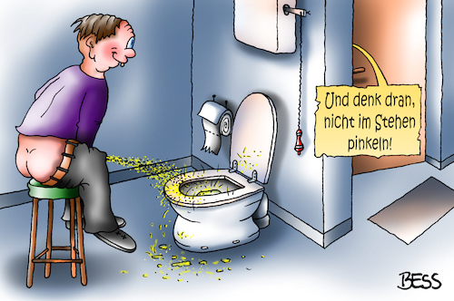 Cartoon: denk dran (medium) by besscartoon tagged pinkeln,wc,toilette,klo,männer,urinieren,bess,besscartoon