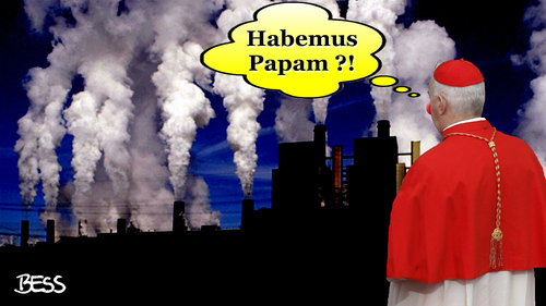 Cartoon: Habemus Papam (medium) by besscartoon tagged christentum,religion,katholisch,kirche,rom,papst,kurie,kardinal,papstwahl,fabrik,weißer,rauch,habemus,papam,pappnase,clown,show,intrigen,konklave,bess,besscartoon