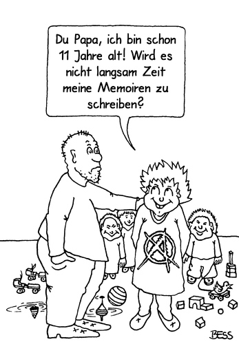 Cartoon: Memoiren (medium) by besscartoon tagged vater,sohn,kinder,papa,memoiren,alter,schreiben,bess,besscartoon