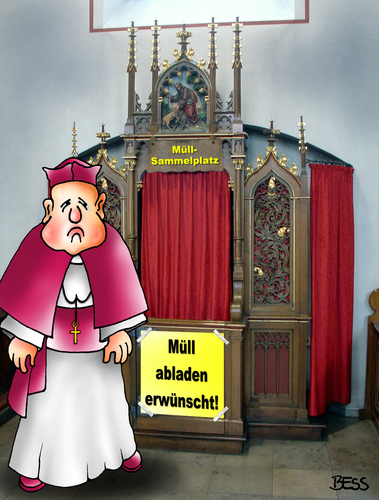 Cartoon: Müll-Sammelplatz (medium) by besscartoon tagged kirche,religion,beichten,beichtstuhl,pfarrer,müll,abfall,katholisch,bess,besscartoon