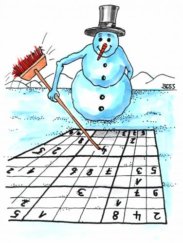 Cartoon: Sudoku (medium) by besscartoon tagged sudoku,schneemann,besscartoon,bess,winter,mathematik