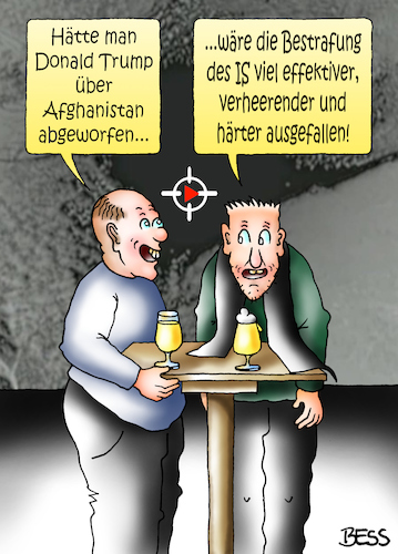 Cartoon: Vater aller Bomben (medium) by besscartoon tagged amerika,donald,trump,präsident,gewalt,vergeltung,usa,militär,waffen,bombe,megabombe,moab,mutter,afghanisten,abwurf,terrorismus,terror,milizen,is,islamischer,staat,bess,besscartoon