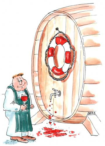 Cartoon: Weinfass xxl (medium) by besscartoon tagged besscartoon,bess,alkohol,rettungsring,fass,wein,mann