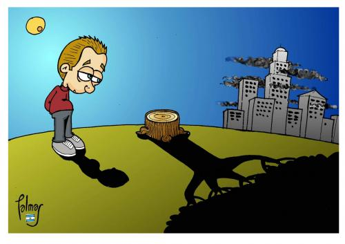 Cartoon: La sombra (medium) by Palmas tagged ecologicos