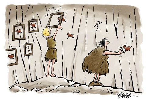 Cartoon: cave painting (medium) by penwill tagged cave,cavemen,cavepainting,prehistoric