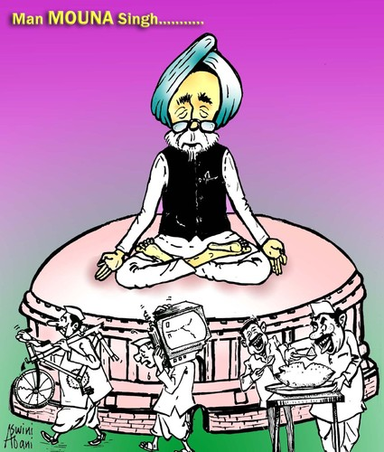 Cartoon: Indian P.M. (medium) by Aswini-Abani tagged india,manmohan,singh,politics,congress,aswini,abani,aswiniabani,asabtoons