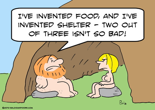Cartoon: cave naked invented food shelter (medium) by rmay tagged cave,naked,invented,food,shelter