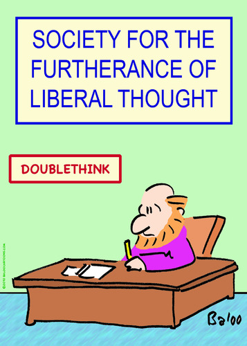 Cartoon: doublethink liberal thought (medium) by rmay tagged doublethink,liberal,thought