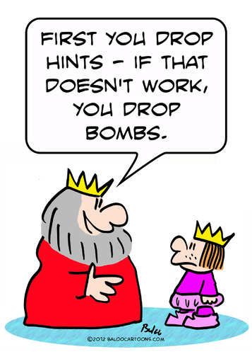Cartoon: drop hints bombs king prince (medium) by rmay tagged prince,king,bombs,hints,drop