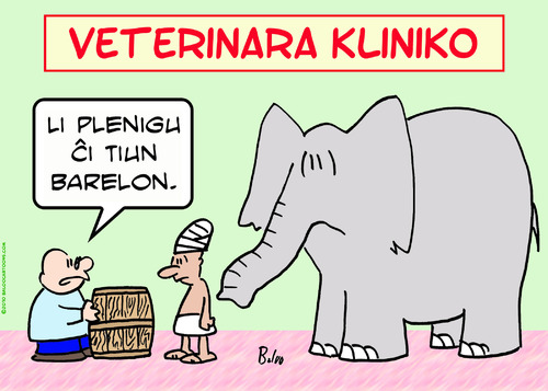 Cartoon: elephant fill barrel esperanto (medium) by rmay tagged elephant,fill,barrel,esperanto