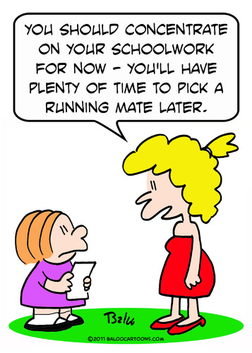 Cartoon: girl schoolwork running mate (medium) by rmay tagged girl,schoolwork,running,mate