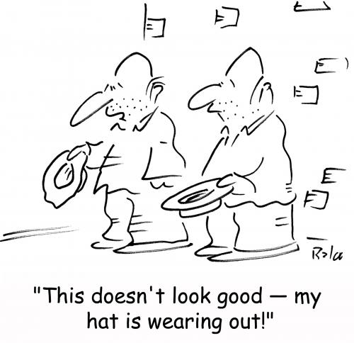 Cartoon: hat wearing out (medium) by rmay tagged hat,wearing,out,panhandlers