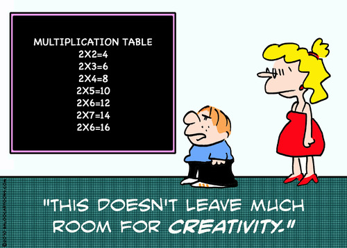 Cartoon: kid teacher multiplication table (medium) by rmay tagged kid,teacher,multiplication,table