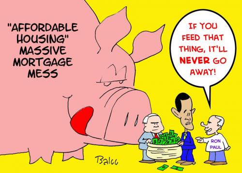 Cartoon: MORTGAGE CRISIS RON PAUL OBAMA (medium) by rmay tagged mortgage,crisis,ron,paul,obama,mccain,pig,feed,never