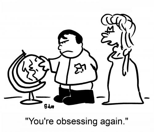 Cartoon: obsessing (medium) by rmay tagged napoleon,globe,obsessing